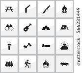 set of 16 editable camping... | Shutterstock .eps vector #566231449