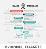 vector minimalist cv   resume... | Shutterstock .eps vector #566232754