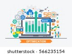 seo optimization. flat... | Shutterstock .eps vector #566235154