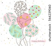 Birthday background with balloons with floral pattern and sparkles in pastel colors.