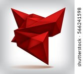 volume red geometric shape  3d... | Shutterstock .eps vector #566241598