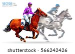 two racing horses competing... | Shutterstock .eps vector #566242426