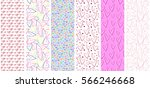 set of seamless vector pattern  ... | Shutterstock .eps vector #566246668