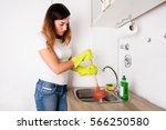 blocked home sink | Shutterstock . vector #566250580