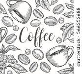 organic coffee leaf  bean... | Shutterstock .eps vector #566253688