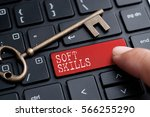 closed up finger on keyboard... | Shutterstock . vector #566255290