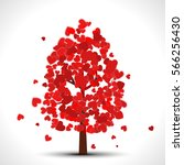 valentine tree with red falling ... | Shutterstock . vector #566256430