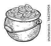 hand drawn cauldron sketch of...   Shutterstock .eps vector #566259904