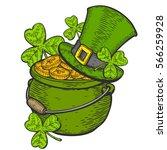 hand drawn cauldron sketch of... | Shutterstock .eps vector #566259928