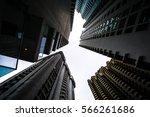 low angle shot of modern glass... | Shutterstock . vector #566261686
