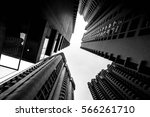 low angle shot of modern glass... | Shutterstock . vector #566261710