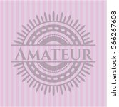 amateur badge with pink... | Shutterstock .eps vector #566267608