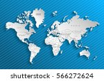 political map of the world.... | Shutterstock .eps vector #566272624