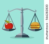 scales with red apple and... | Shutterstock .eps vector #566282830