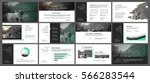 Green and grey elements for infographics on a white background. Presentation templates. Use in presentation, flyer and leaflet, corporate report, marketing, advertising, annual report, banner. | Shutterstock vector #566283544