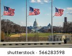 american flags with us capitol... | Shutterstock . vector #566283598