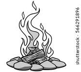campfire illustration   Shutterstock .eps vector #566291896