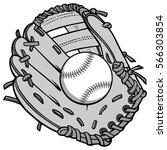 baseball and glove illustration | Shutterstock .eps vector #566303854