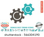 grey and cyan gears rotation... | Shutterstock .eps vector #566304190