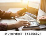 documents on office table with... | Shutterstock . vector #566306824
