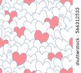 valentines day seamless pattern.... | Shutterstock .eps vector #566312533