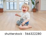 crying little cute child on the ... | Shutterstock . vector #566322280