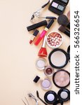 set cosmetics   makeup brushes  ... | Shutterstock . vector #566326654