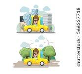 man driver yellow car city eco... | Shutterstock .eps vector #566337718
