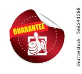 guarantee red round stickers. | Shutterstock . vector #566341288