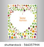 book heart vegetables fruits ... | Shutterstock .eps vector #566357944