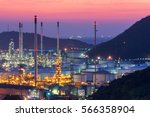 oil refinery factory at...   Shutterstock . vector #566358904