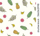 tropical background. leaves ... | Shutterstock .eps vector #566363998