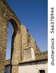 Small photo of view of the Evora aqueduct, a roman empire heritage, unesco heritage site.