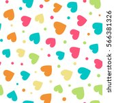 seamless pattern with hearts... | Shutterstock .eps vector #566381326