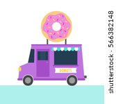 Truck With Donuts. Vector Hand...