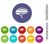 bicycle helmet set icons in... | Shutterstock .eps vector #566383564