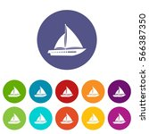 sailing yacht set icons in... | Shutterstock .eps vector #566387350