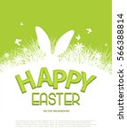 Stock vector vector background for easter template for brochure rabbit ears sticking out of the grass 566388814