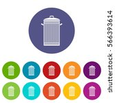 trash can set icons in... | Shutterstock .eps vector #566393614