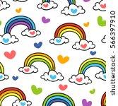 rainbow. vector seamless... | Shutterstock .eps vector #566397910