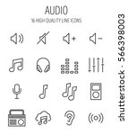 set of audio icons in modern...