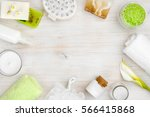 spa wellness products on wood... | Shutterstock . vector #566415868