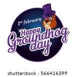 cartoon old groundhog in a hat... | Shutterstock .eps vector #566416399