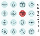 set of 16 new year icons.... | Shutterstock .eps vector #566419219