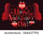 happy valentines day romance... | Shutterstock .eps vector #566427793