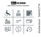 set of 9 travel icons. includes ... | Shutterstock .eps vector #566431774