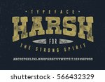harsh font crafted retro... | Shutterstock .eps vector #566432329