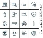 set of 16 travel icons.... | Shutterstock .eps vector #566435440
