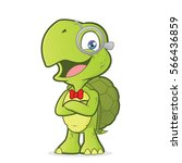 turtle geek with folded hands | Shutterstock .eps vector #566436859