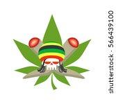 rasta logo. rastafarian hat and ... | Shutterstock .eps vector #566439100